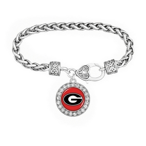 Silver tone officially licensed braided rope chain bracelet with heart lobster claw clasp, round Georgia logo charm accented with crystals.