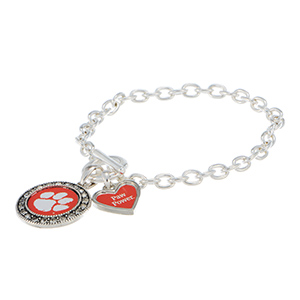 "Silver tone officially licensed toggle bracelet featuring the Clemson logo with clear crystal rhinestones and a charm inscribed with ""Paw Power""."