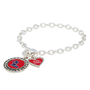 "Silver tone officially licensed toggle bracelet featuring the Ole Miss logo with clear crystal rhinestones and a charm inscribed with ""Hotty Toddy""."