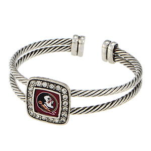 Silver tone officially licensed cuff bracelet featuring the Florida State logo and clear crystal rhinestones.