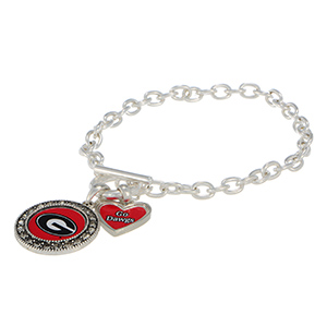 "Silver tone officially licensed toggle bracelet featuring the Georgia logo with clear crystal rhinestones and a charm inscribed with ""Go Dawgs."""
