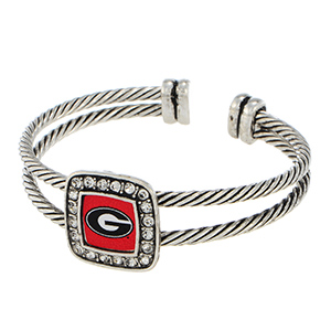 Silver tone officially licensed cuff bracelet featuring the Georgia logo and clear crystal rhinestones.