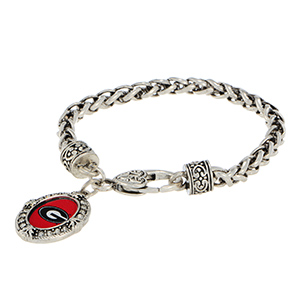 Silver tone lobster clasp officially licensed bracelet featuring the Georgia logo and clear crystal rhinestones.