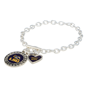 "Silver tone officially licensed toggle bracelet featuring the LSU logo with clear crystal rhinestones and a charm inscribed with ""Tiger Bait"""