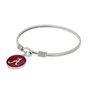 Silver tone latch bangle bracelet with a crimson officially licensed University of Alabama charm.