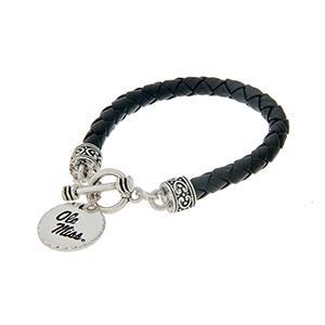 "Black braided faux leather toggle bracelet with an officially licensed silver tone Ole Miss charm. Approximately 7 1/2"" in length."