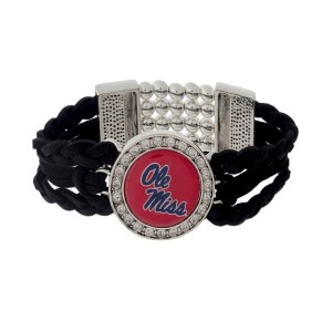 Officially licensed black braided suede and silver tone stretch bracelet with the Ole Miss logo.
