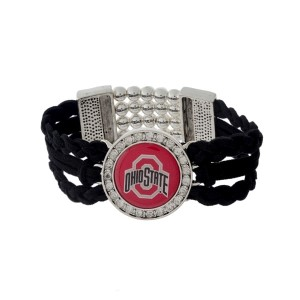 Officially licensed black braided suede and silver tone stretch bracelet with the Ohio State University logo.