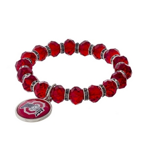 Officially licensed, Ohio State University stretch bracelet with clear rhinestone accents and a logo charm.