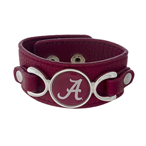 """Officially licensed, faux leather bracelet with the University of Alabama logo. Approximately 1"""" in width."""