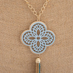 Wholesale long necklace periwinkle filigree pattern pendant tassel detail Pendan