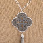 Wholesale long necklace grey filigree pattern pendant tassel detail Pendant over