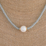 Wholesale short grey beaded necklace pearl accent