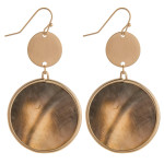 Wholesale long black mother pearl circular earrings brass detail long