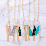 Wholesale long cable chain necklace natural stone pendant metal bar accent Penda