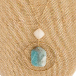 Wholesale long cable chain necklace circular metal pendant natural stone inspire