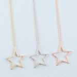 Wholesale dainty cable chain necklace star pendant cubic zirconia details Pendan