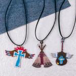 Wholesale long western black felt necklace cross metal pendant Pendant overall