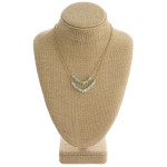 Wholesale dainty double layered necklace natural stone block beaded details