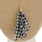 Wholesale long satellite chain necklace fabric buffalo check tassel pendant Pend