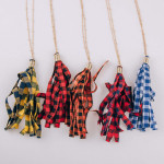 Wholesale long satellite chain necklace fabric buffalo check tassel pendant Pend