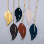 Wholesale designer chain inspired necklace faux leather leaf pendant wire accent