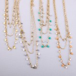 Wholesale gold layered semi precious star floater necklace Shortest layer L L ov