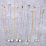 Wholesale white Gold Dipped Pearl Collar Necklace Pearl mm Long Adjustable Exten