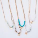 Wholesale semi Precious Beaded Star Necklace Pendant cm L Adjustable Extender