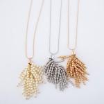 Wholesale long Gold Necklace Pearl Beaded Tassel Pendant Pendant L Adjustable Ex