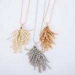 Wholesale long Gold Necklace Gold Beaded Tassel Pendant Pendant L Adjustable Ext