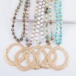 Wholesale long Semi Precious Beaded Hammered Pendant Necklace Pendant diameter L