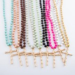Wholesale wood Beaded Bamboo Cross Statement Necklace Pendant L overall Adjustab
