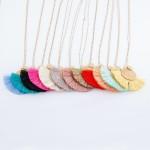 Wholesale long Necklace Gold Textured Circular Pendant Thread Tassels Pendant L