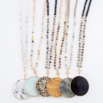 Wholesale semi Precious Beaded Stone Pendant Necklace Pendant Diameter L Adjusta