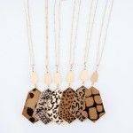 Wholesale long Necklace Metal Encased Cheetah Print Pendant Gold Pendant Long An