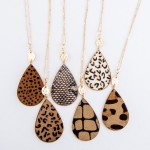 Wholesale metal Encased Leopard Print Teardrop Pendant Necklace Gold Pendant L A