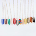 Wholesale long Necklace Crystal Leaf Pendant Gold Pendant Long Adjustable Extend
