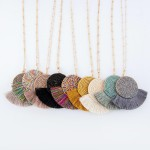 Wholesale long Necklace Seed Beaded Tassel Pendant Gold Pendant Long Adjustable