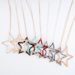 Wholesale long Necklace Gold Inner Beaded Star Pendant Pendant approx L Adjustab