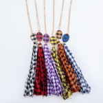 Wholesale buffalo Check Fabric Tassel Pendant Necklace Pendant L L Adjustable Ex