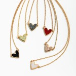 Wholesale druzy Heart Pendant Necklace Gold Pendant Adjustable Extender