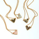 Wholesale natural Stone Heart Pendant Necklace Gold Pendant Adjustable Extender