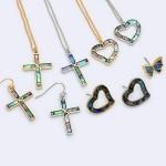 Wholesale genuine Abalone Cross Pendant Necklace Cross Pendant Adjustable Extend