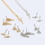 Wholesale rhinestone Lightning Bolt Pendant Necklace Pendant Adjustable Extender