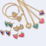 Wholesale rhinestone Epoxy Heart Pendant Necklace Pendant Adjustable Extender