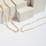 Wholesale long Pearl Beaded Chain Link Necklace Adjustable Extender