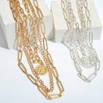 Wholesale metal Chain Link Layered Coin Necklace Coin Adjustable Extender