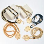 Wholesale long Wood Beaded Palm Leaf Necklace Semi Precious Details Pendant Adju