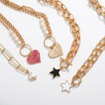 Wholesale chain Link Toggle Bar Necklace Gold Epoxy Star Pendant Star Pendant